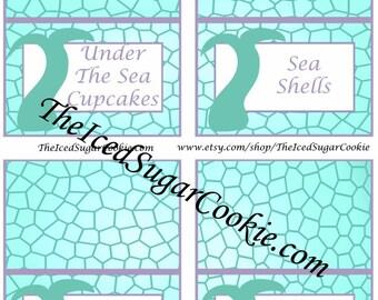 Mermaid Food Tent Cards   Digital Download