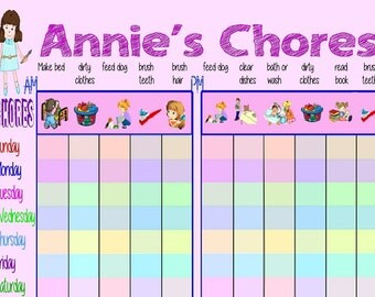 Boy or Girl Chore Chart with Child's Name