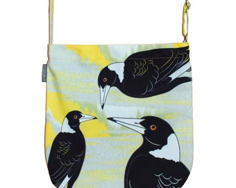 Sale - Magpie Print Canvas Tote, Messenger bag or Handbag - Great birthday gift