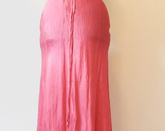 Long shocking pink 90s fishtail skirt
