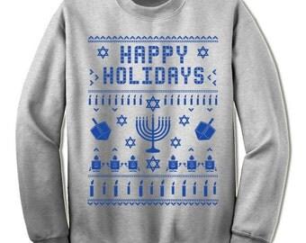 Ugly Hanukkah Sweater Sweatshirt. Funny Hanukkah Gift.