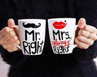 Couple Mug for Coffee, Couple Big Handpainted Mug, Coffee Mug, Coffee White Mug, Coffee Mug for Couple - Mr. Right and Mrs. Always Right