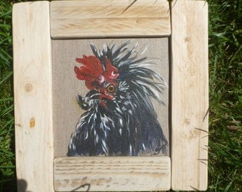 Rooster painting on linen canvas Board