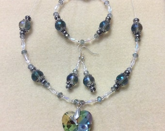 Blue heart crystal necklace with bracelet and earrings