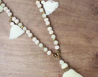 Natural Wood & Cream Tassel Necklace