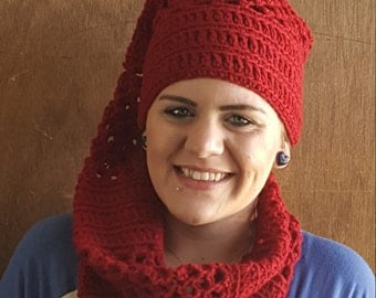Hand Crocheted hat scarf combo