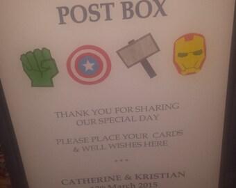 Marvel Wedding Post Box Sign