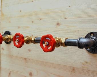 Coat rack, coat hook rack - 3 valves / valves Red