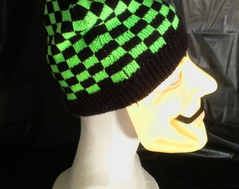 Bright Green & Black Checker Knit Beanie