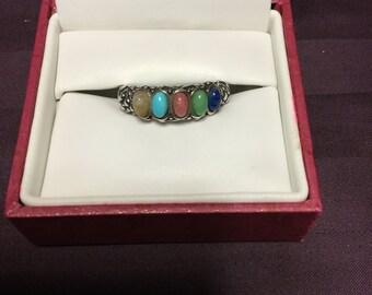 Silver semi precious multi stones ring