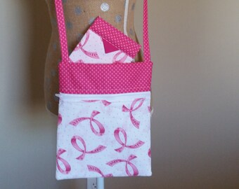 Handmade by CMarie with Pink Love Ribon Cotton Fabric