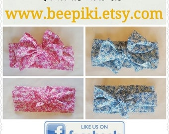 Floral headwrap blue / pink - floral head wrap - blue head wrap - pink headwrap - pink floral headwrap - blue floral headwrap