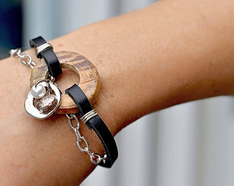 Bracelet wood and leather