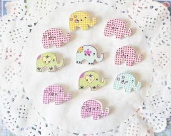 Cute Wooden Elephant Buttons
