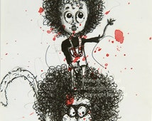 Original drawing of a child standing on the head of his lion, curly mane, curly hair, red watercolor tasks, ink