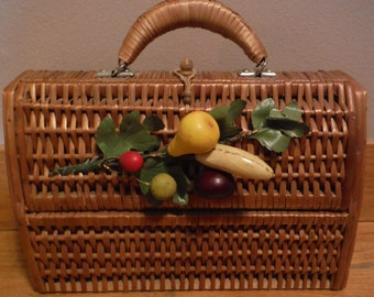 Fun Vintage Woven Wicker Basket Purse - Complete with Fruit!