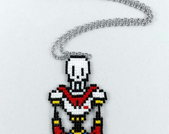 Undertale Papyrus Necklace - Undertale Necklace Pixel Necklace Video Game Necklace 8bit Jewelry Geeky Gifts Anime Necklace