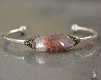 Crystal Bracelet - Womens Bracelet - Boho Chic Bracelet - Boho Chic Jewelry - Natural Angel Phantom Quartz Cuff - Amphibole Phantom Quartz