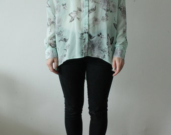 80s Vintage Button Up Fine Decorated Blue Cyan Birds Patterned Blouse for Women