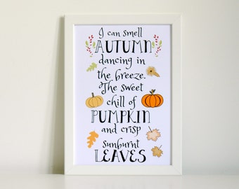 Autumn Quote Wall Art Print
