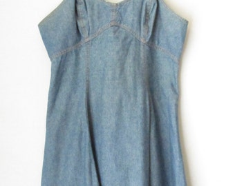 Denim Dress, Denim Slipdress, Vintage Slipdress, Vintage Denim Dress, Jean Dress, Slip Dress, Summer Dress, Cafe Con Leche, 90's Dress