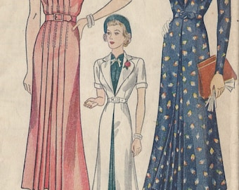 1939 Vintage Sewing Pattern B34 DRESS & REDINGOTE (R892)