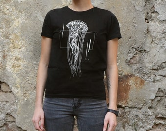 Jellyfish geometric T-shirt Screenprinted Women T-shirt