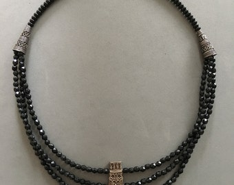 Black Multi-Strand Necklace