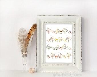 Fall Foliage Gradient Texture Digital Print, Printable Wall Art, Autumn, Leaves, Acorns, Minimal, Decor