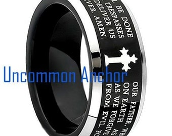Lord's Prayer Tungsten Ring