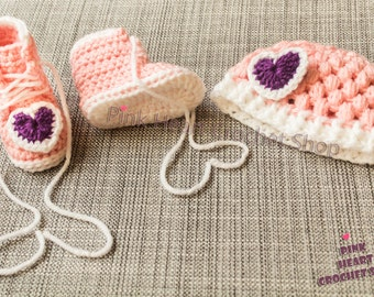 Crochet Baby Booties and Beanie set , Baby shoes , Baby hat , Crochet Baby Gift , crochet baby shoes, baby cap,baby girl