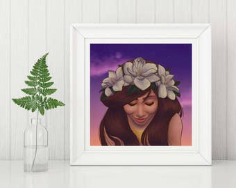Summer- Art Print, Woman Portrait Art Print, Illustration Print, Pagan Art Print, The Seasons Art Print, Wall Art, Digital Art Print