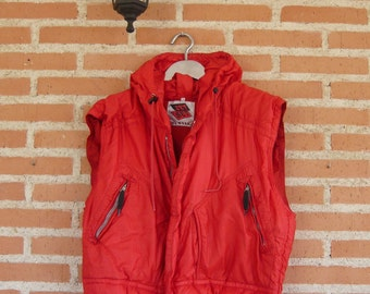 SALE!!JET SET Ski Vest, Vintage Red Winter Vest, Goose Down, Size 2