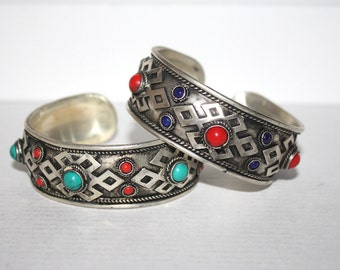 Turquoise Bracelet, Coral Bracelet, Boho bracelet, Silver Bracelet, Tribal Bracelet, Gypsy bracelet, Navajo Bracelet, Tibetan bracelet