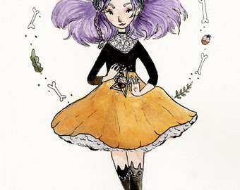 acorn witch. art print.