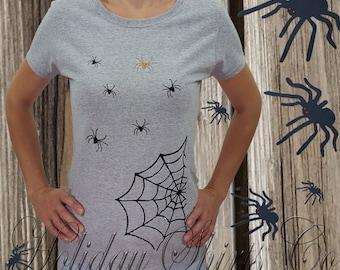 HALLOWEEN SHIRT, spider shirt, glitter spider shrit, womens halloween shirt, Fall shirt, holiday shirt