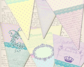 Printable Shabby Banner Bunting party banner instant download digital collage sheet VDBASC0811