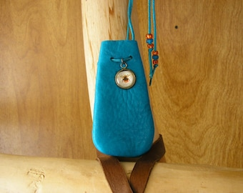 """Fly, cerulean blue leather drawstring pouch with a glass charm, 3"""" x 1.5"""" adjustable 36"""" nylon neck cord"""