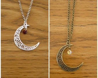 "Luna birthstone necklace, Moon charm with Swarovski crystal birth stone, choose from silver or antique brass, chain is 30"" long"
