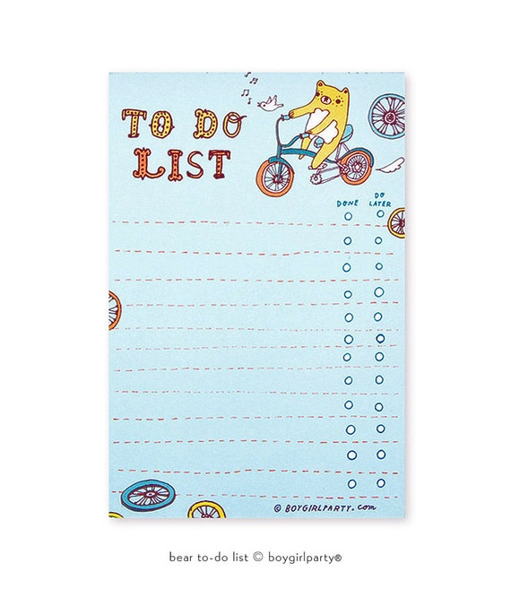 kawaii stationery - bear TO DO LIST - homework organizer, tween gift for her tween gifts, to do list notepad, motivational notepad