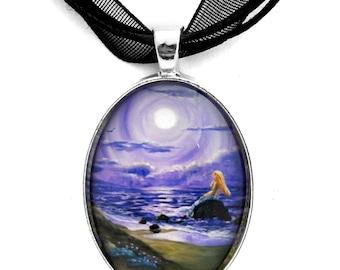 Mermaid Pendant Necklace Sand Dunes in Lavender Moonlight Fantasy Handmade Jewelry Art Pendant Purple Moon Ocean Seascape
