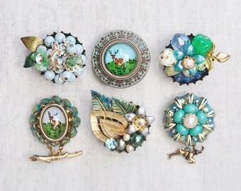 6 Deer Fridge Magnets -  woodland themed decor - recycled vintage jewelry bottle cap - strong refrigerator magnet set