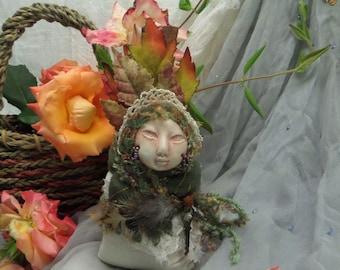 Ooak Art Doll, Jizo Bodhisattva, Handcrafted Fetish, Meditation Altar, Muslin aromatic bag, Folk Art, Unique Zen Doll, Original Zen Figure
