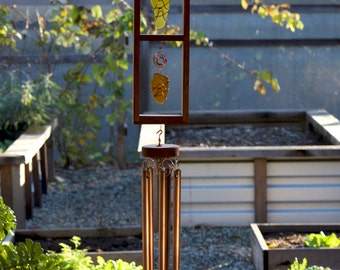 Wind Chimes Sea Glass and Copper Sun Catcher with Large Copper Chimes windchime suncatcher