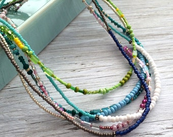Minimal Necklace - colorful seed bead necklace  simplicity necklace light blue and silver