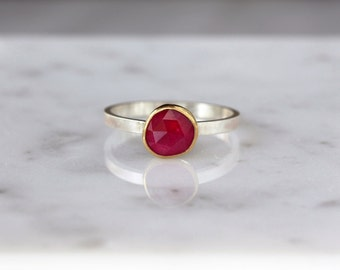 Rose Cut Ruby Ring, 22k Yellow Gold, Ruby Engagement Ring, Sterling Silver Band, Gemstone Solitaire, July Birthstone, Statement Ring