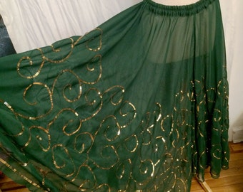 Vintage 1980s Deep Green Sheer Chiffon Circle Skirt Embroidered with Gold Sequins