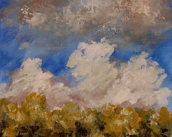 Blue Sky, Trees, Clouds, Original Painting 8x10