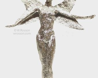 Winter Fairy, Original Art Doll, Chrome, Silver, Fairy, Fantasy, Winter, Winjimir, Art, Vintage Jewelry, Unique, Recycled Doll, Decor, Gift,
