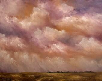 Daybreak Showers, Large Oil Painting, Painting of Clouds, Landscape, Fine Art, Original Painting, Peaceful, Serene, Uplifting, Winjimir,